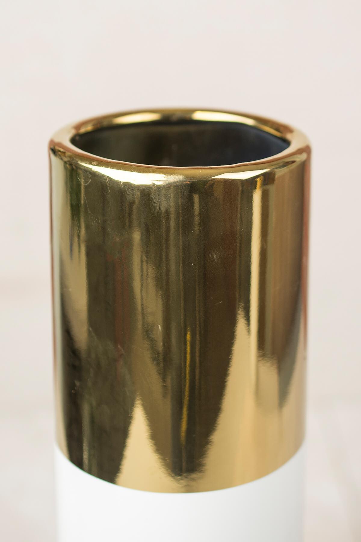 White Amp Gold 16in Klein Vase