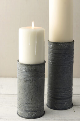Zinc Cylinder Vase & Pillar Candle Holder 6""