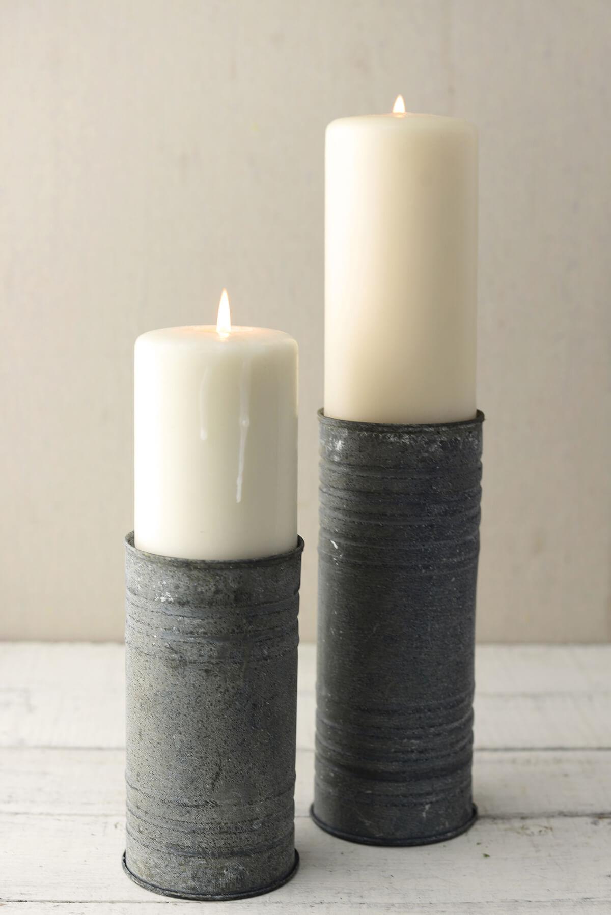 "Zinc Cylinder Vase & Pillar Candle Holder 8"""