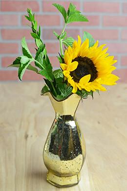"Gold Mercury Glass Carraway Vase 11"""