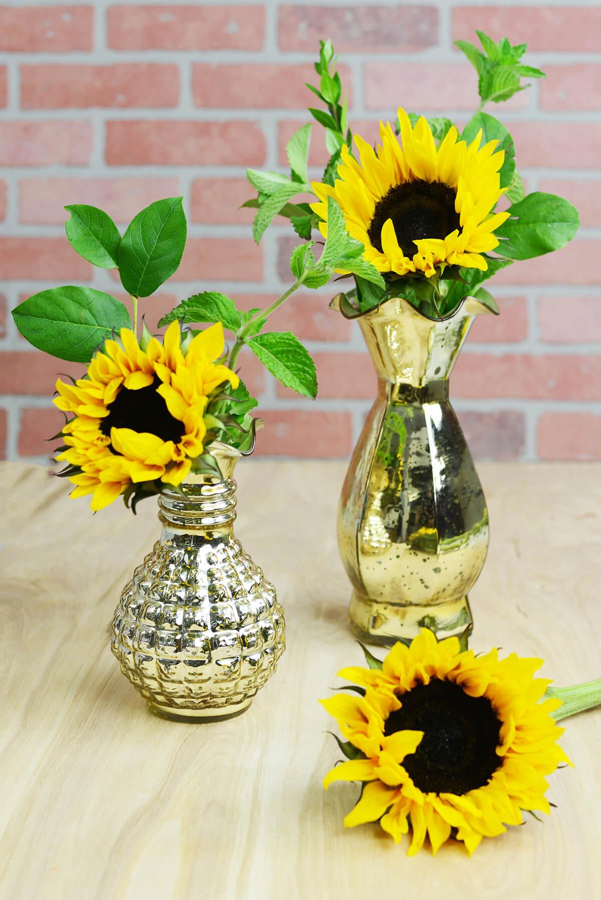 "Gold Mercury Glass Carraway Vase 8"""