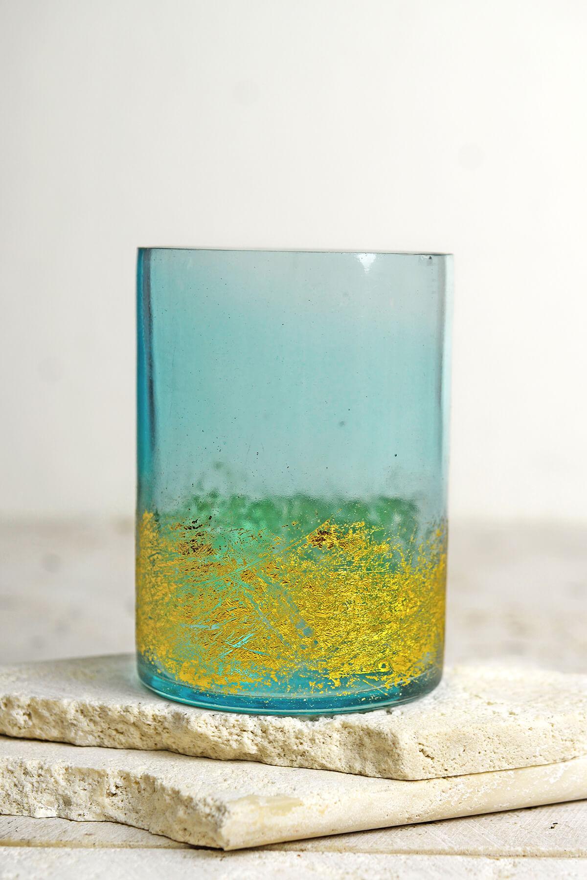Aqua & Gold Glass Votive Holders