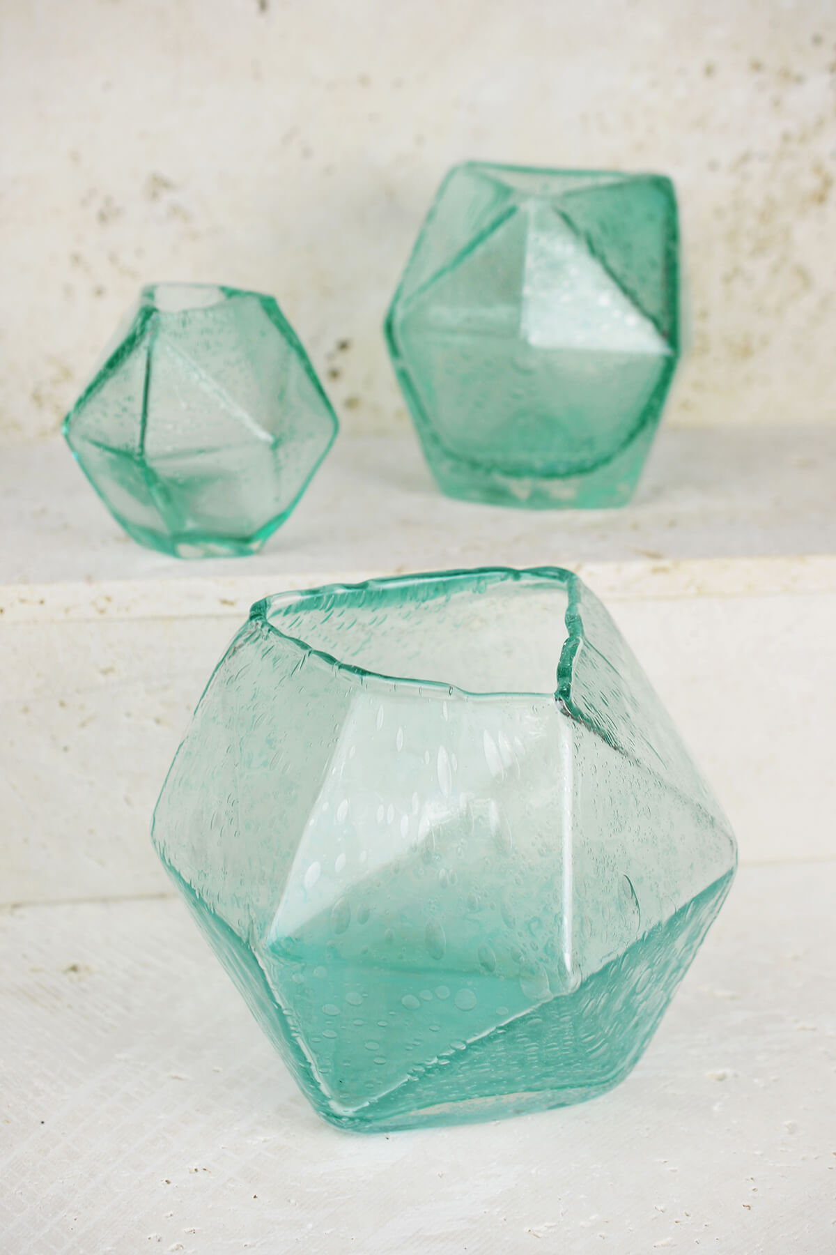 "Geo Glass Bud Vase 6.5"""