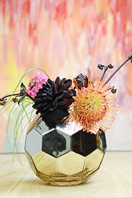 Gold Honeycomb Glam Vase 7""