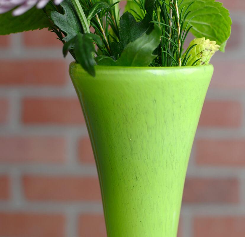 "Maui Vase Hand Blown 20"" Green Glass"