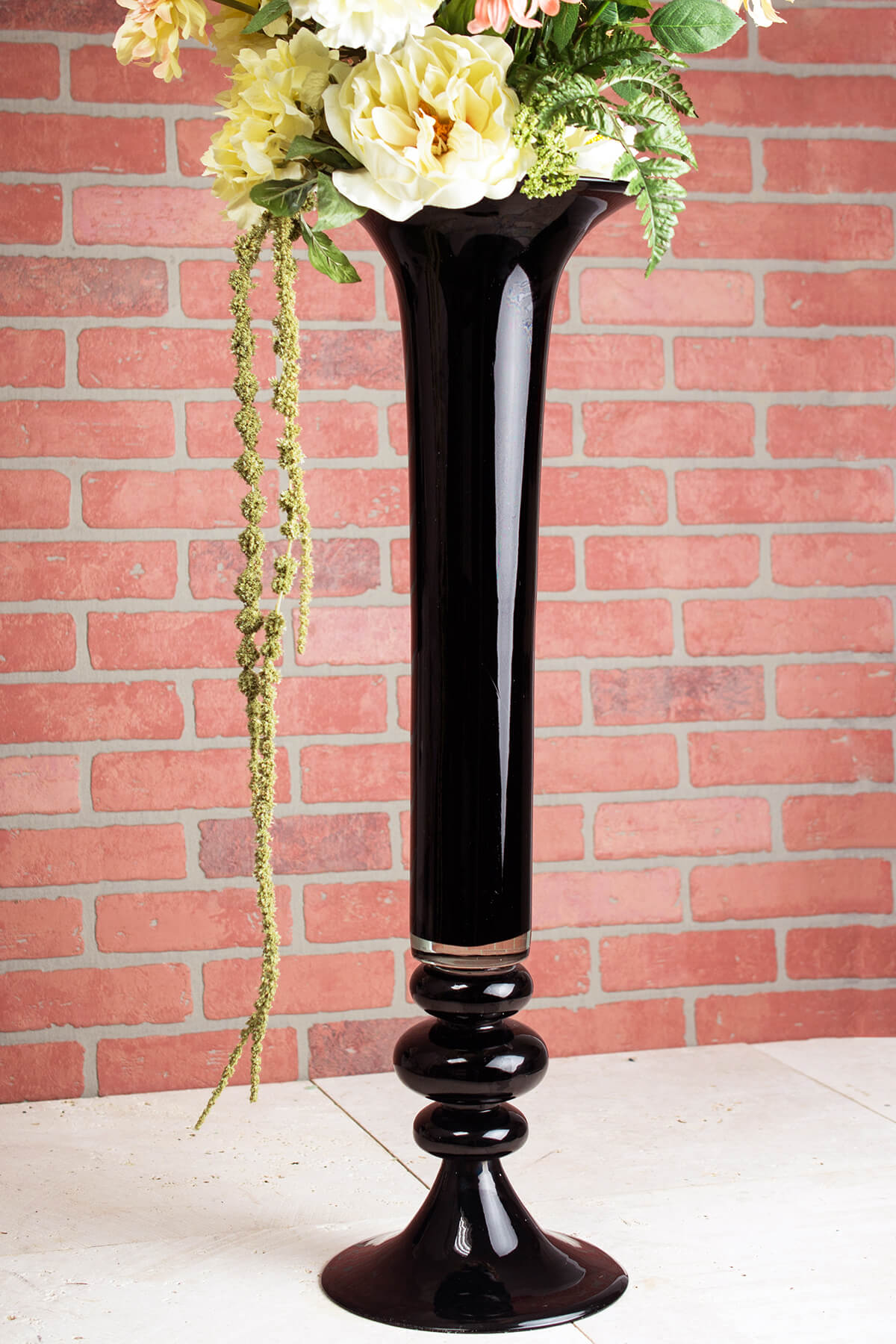 Tall vases2060 offsaveoncrafts black glass 32 inch trumpet vase floridaeventfo Images
