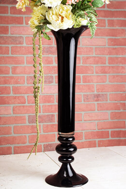Black Glass 32 Inch Trumpet Vase