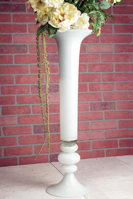 White Glass 32 Inch Trumpet Vase