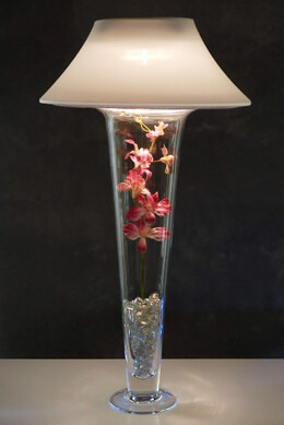 Ivory Micro-dot Vase Shade and Light