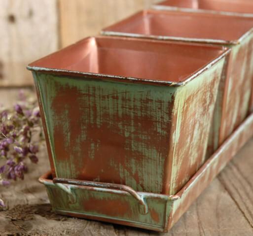 Verdigris Copper Herb Planters Amp Tray 12in