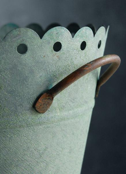 Verdigris 8 Quot Scalloped Metal Bucket With Handles