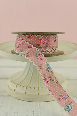 Vintage Floral Ribbon Pink 1inx10yds