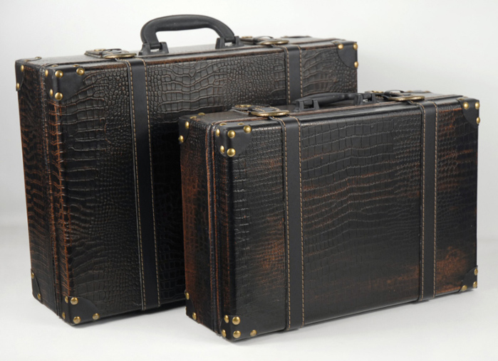 Faux Leather Vintage Suitcases, Wedding Props
