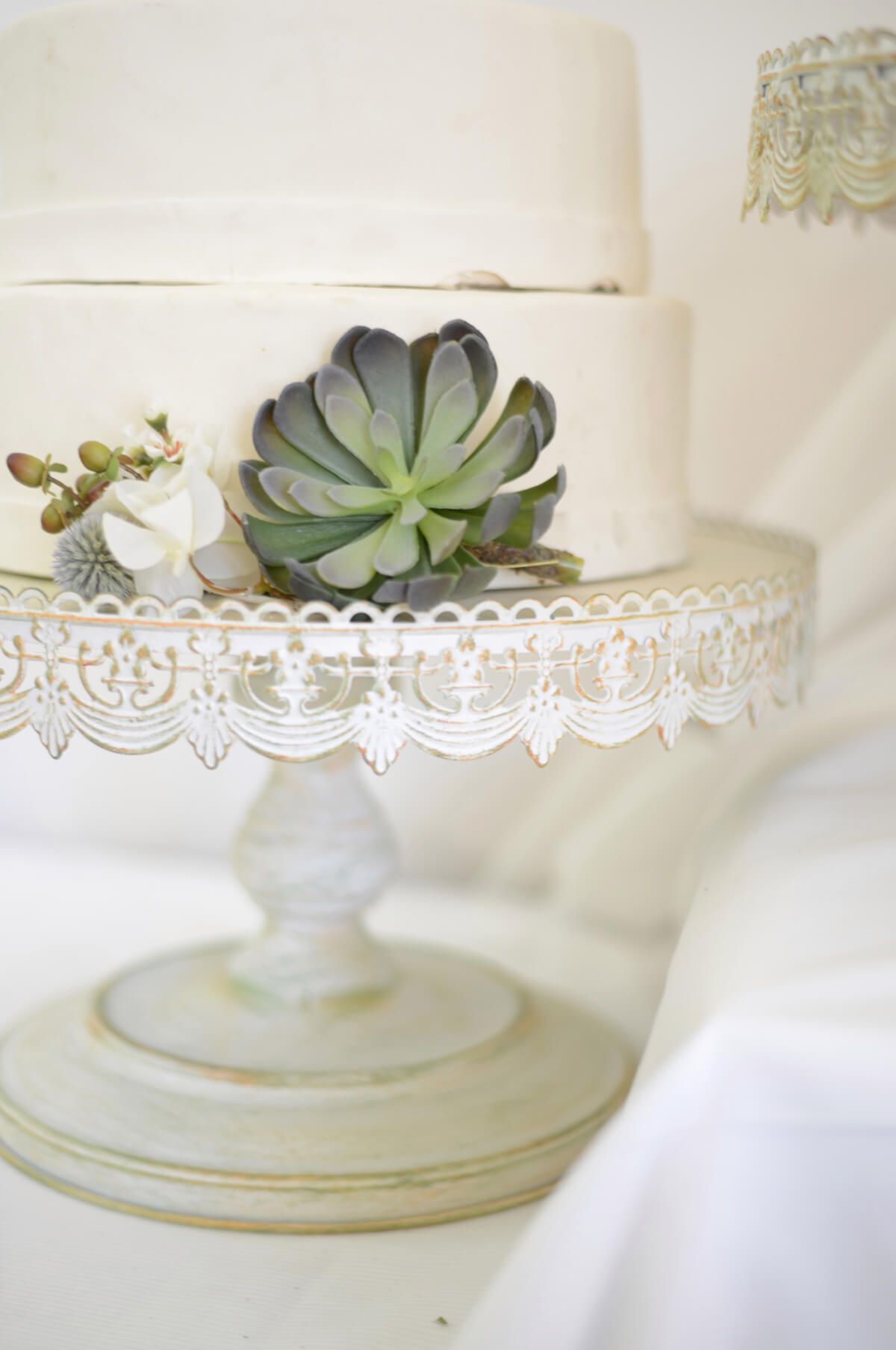 Vintage Metal Cake Stand White 16in