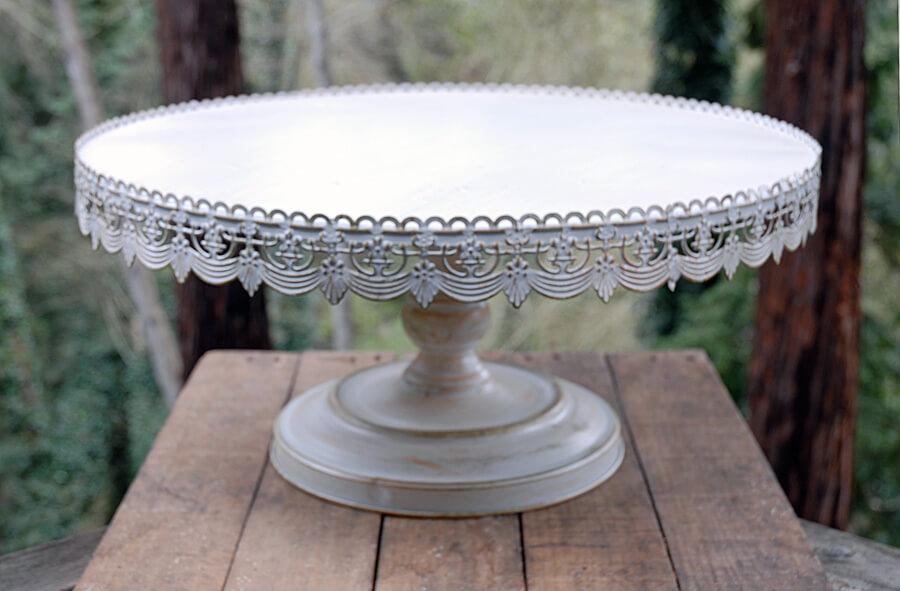Vintage White Metal Cake Stand