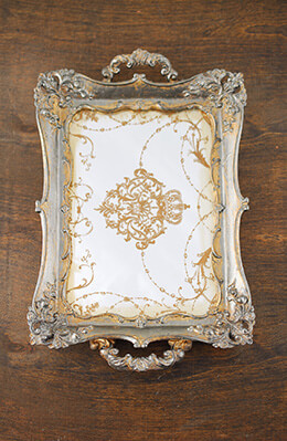 Antique Gold Framed Vintage Mirror Tray 12x8