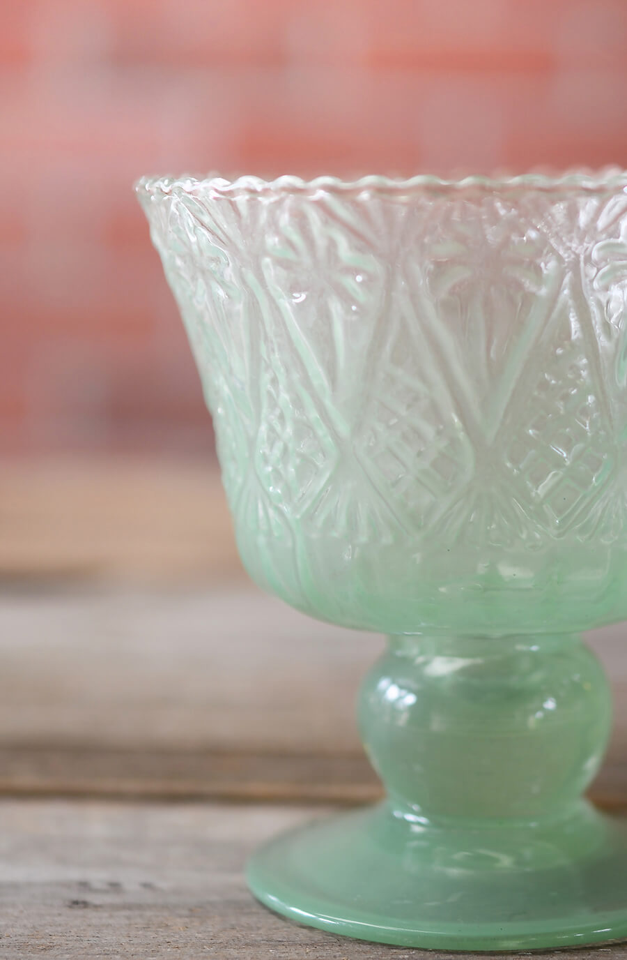 Mint Green Glass Jazzlyn Compote 4""
