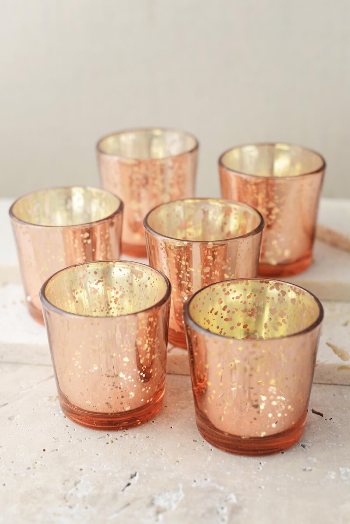 12 rose gold mercury glass candle holders. Black Bedroom Furniture Sets. Home Design Ideas