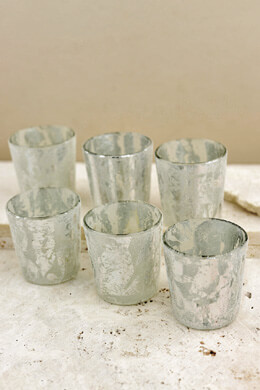 6 Silver Frost Glass Votive Candle Holders