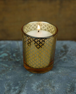 12 Gold Lattice Votive Holders