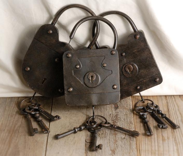 3 Padlocks and Keys 8-1/2 IN.  Locks & Keys