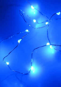 Waterproof  LED Blue Fairy Lights Battery Operated Silver Wire 4'