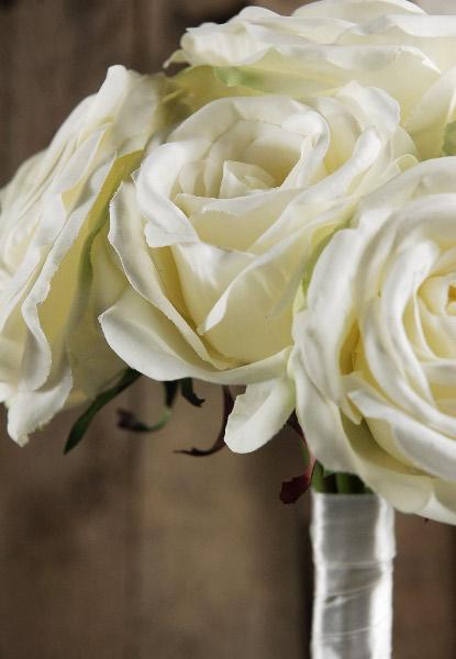 Hand wrapped white rose wedding bouquet mightylinksfo