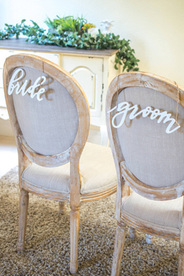 Bride & Groom Chair Signs, Wood White Script