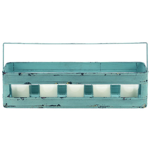 Distressed Aqua Votive Bucket 24in with  5 Glass Votive Candles