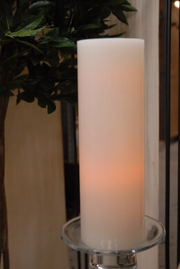 "Everlasting Glow LED  Wax Candle, Straight Edge Pillar, White, 4"" x 12"""