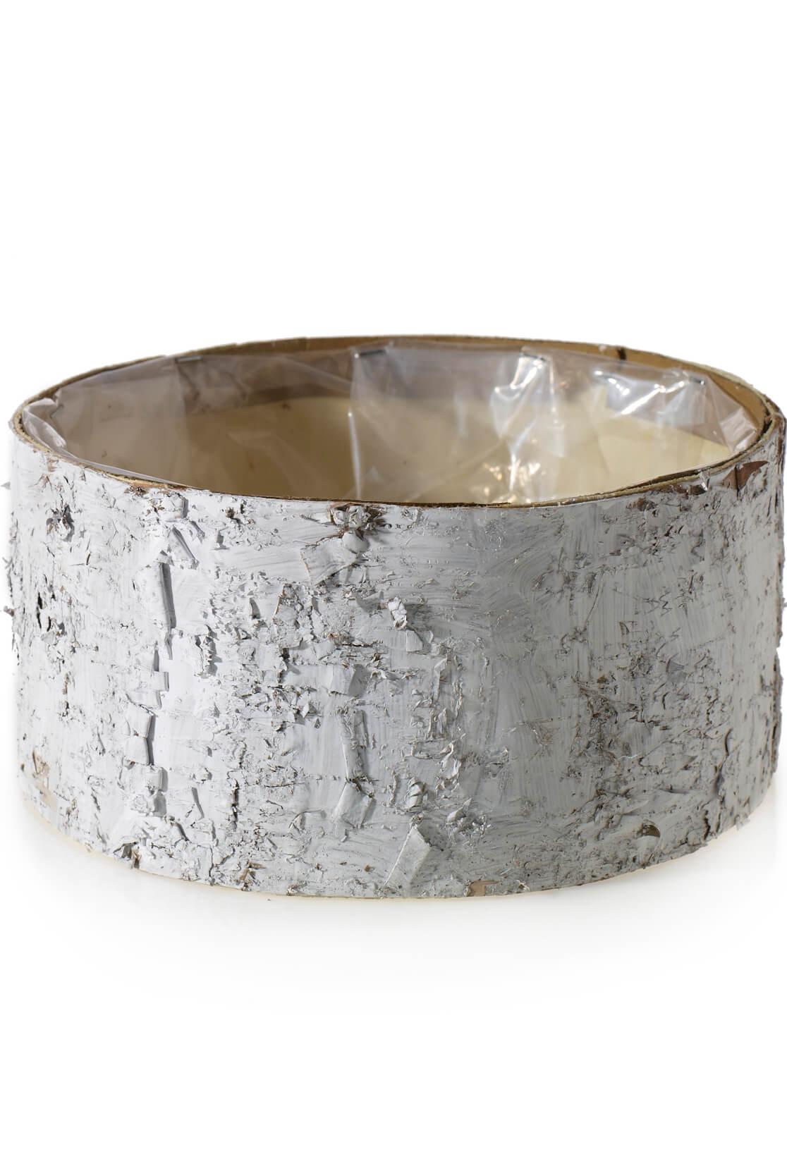 White Birch Bark Bowl Vase 10x4 7