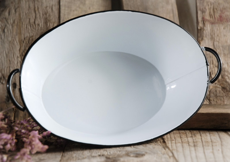 White Enamel Oval Tub With Handles 10 5 X7