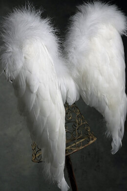 Handcrafted  22x28 White Feather Angel Wings with Marabou Trim