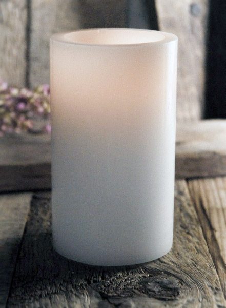 wax pillar candle 5in white battery operated led flickering flame