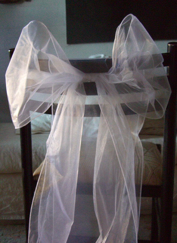 """White Organza Chair Sashes 9"""" Wide  (Pack of 10)"""