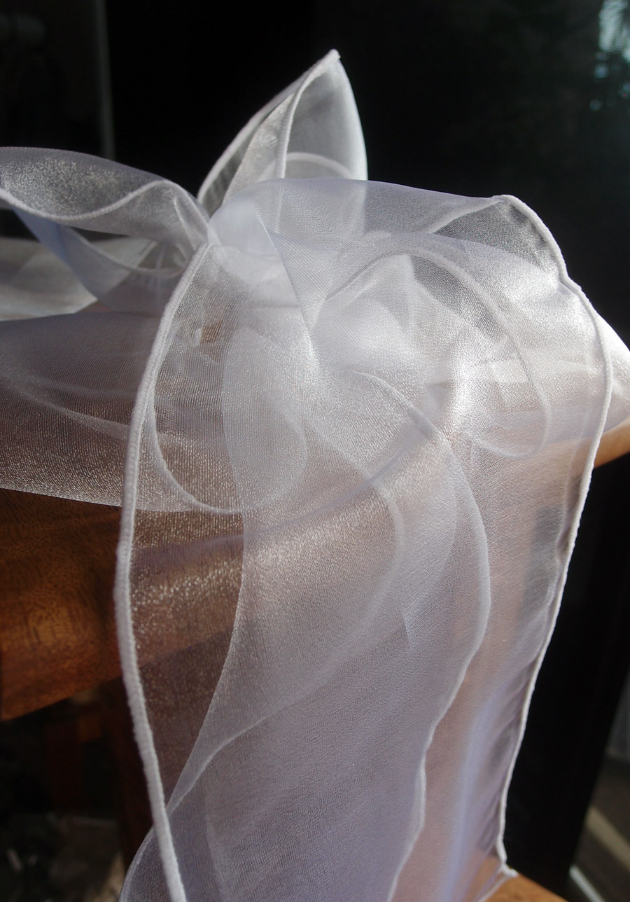 "White Organza Chair Sashes 9"" Wide  (Pack of 10)"