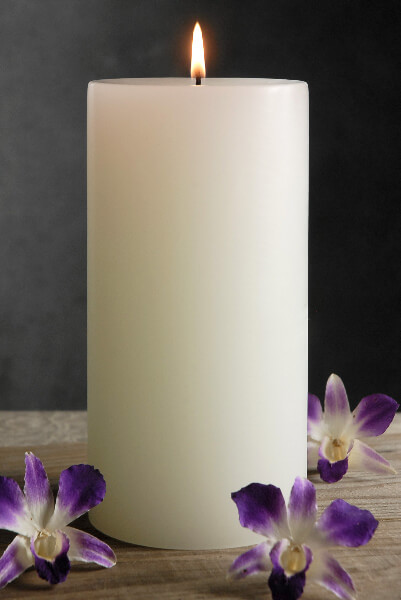 4x9 Pillar Candles White Unscented