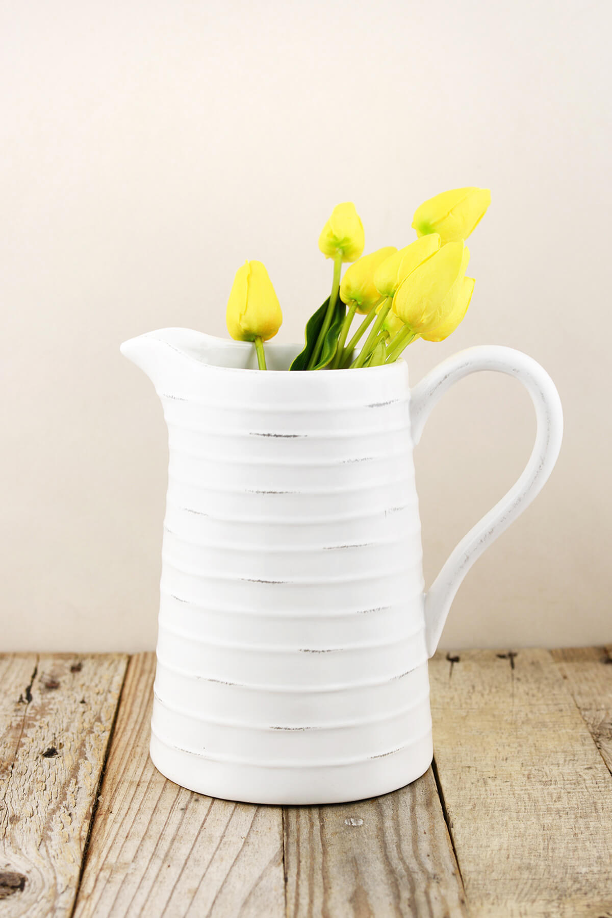 Farmhouse White Ceramic Pitcher 8.5in