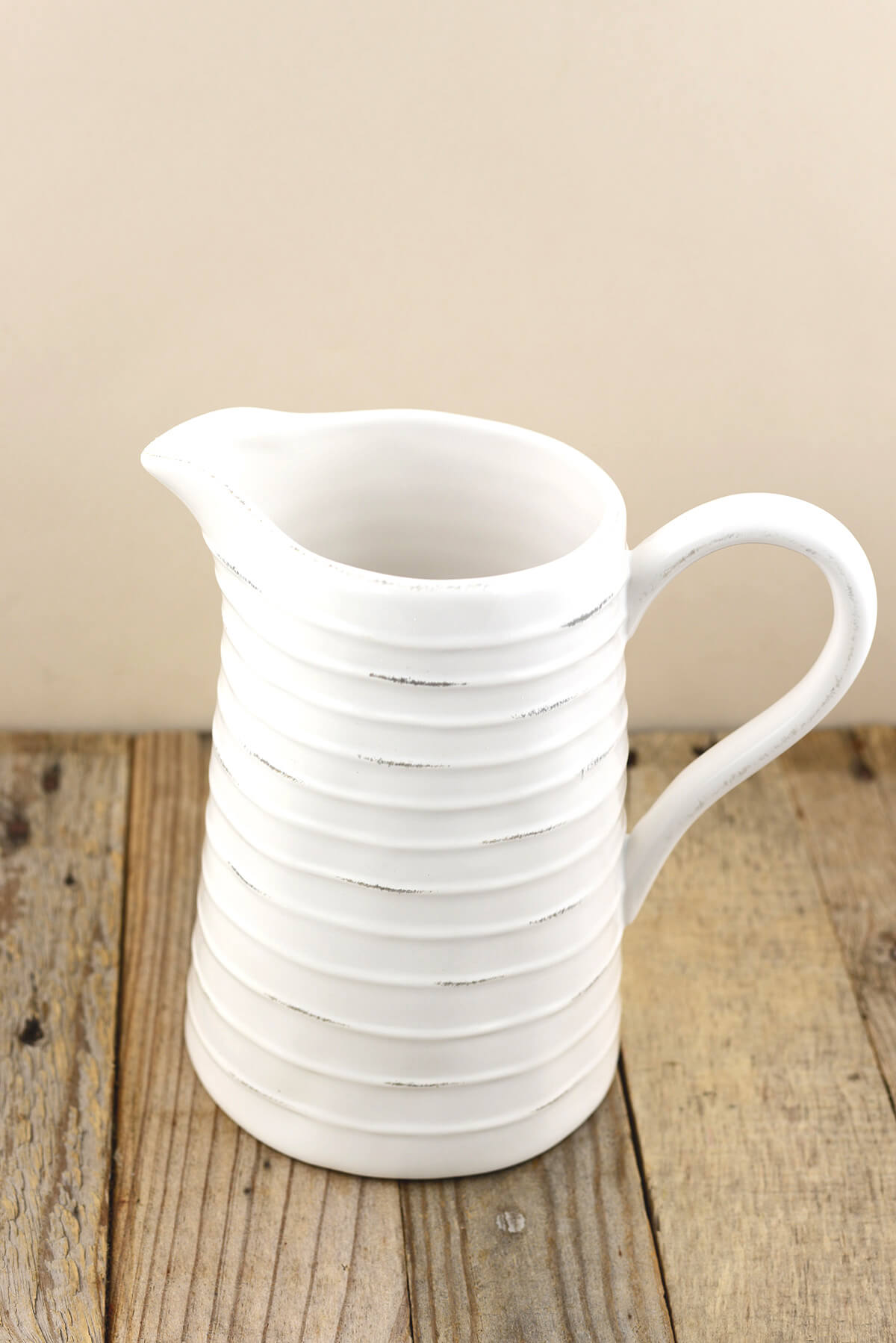 Farmhouse White Ceramic Pitcher 8 5in