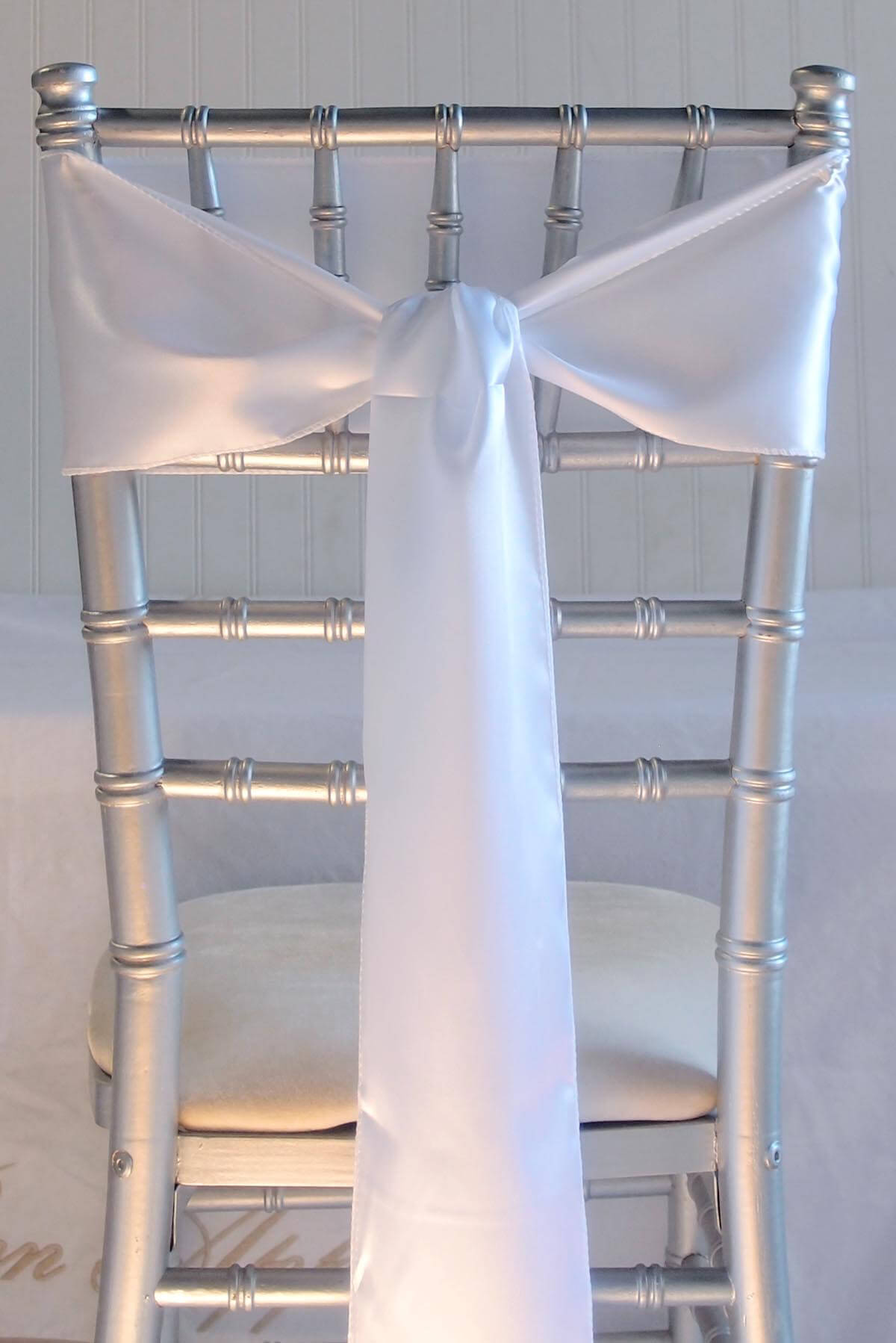 10 White Satin Chair Sashes 6x106