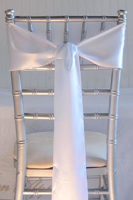 10 White Satin Chair Sashes 6x106