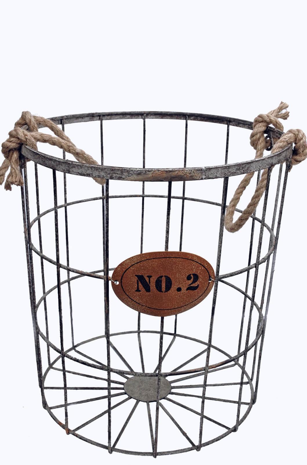 baskets - wire basket  inch rope handles