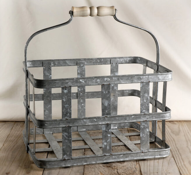 Milk wine bottle metal caddy with wood handle - Wire wine bottle carrier ...