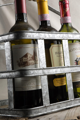 Milk & Wine Bottle Metal Caddy with Wood Handle