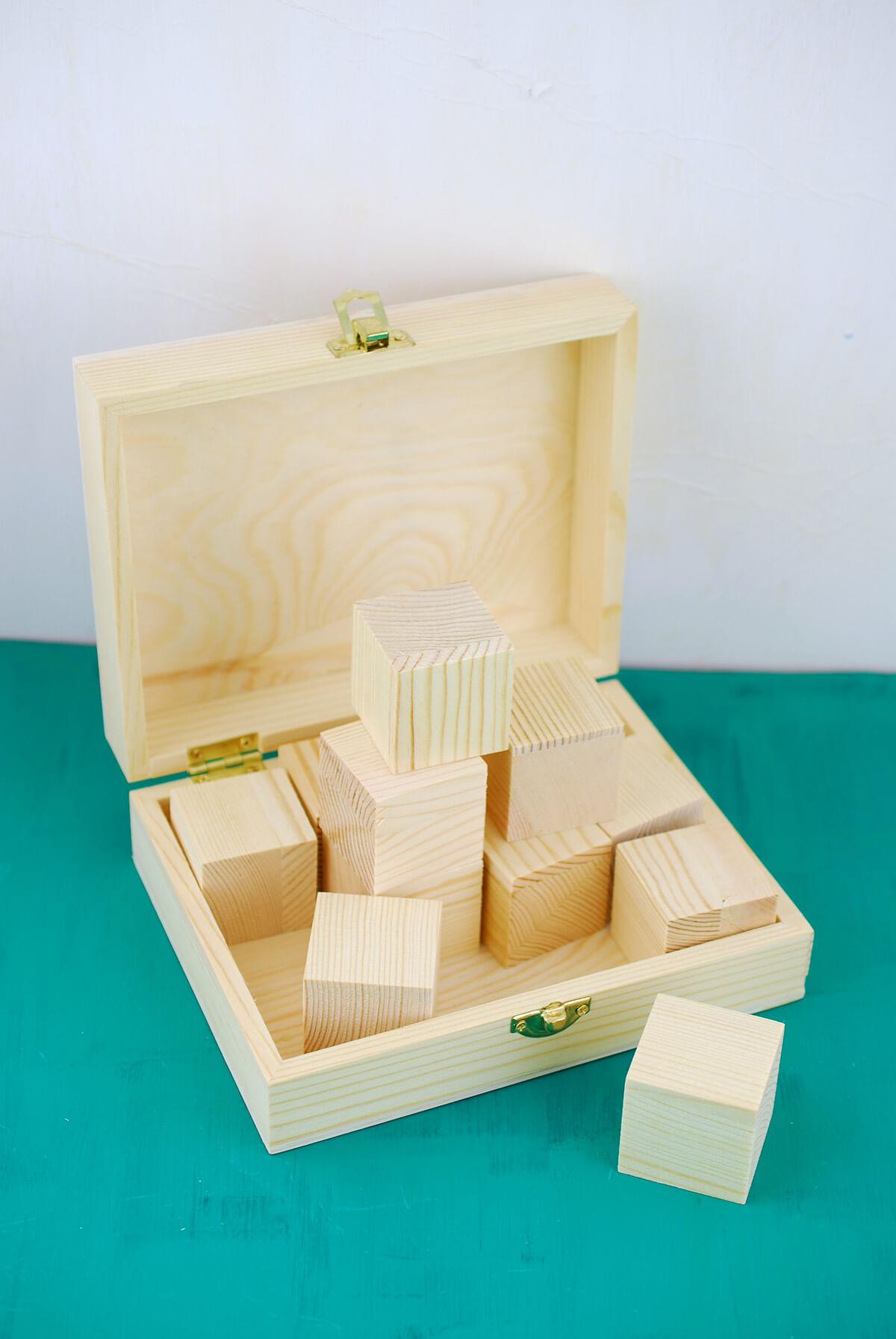 Unfinished wood craft boxes - Wood Hinged Box With 12 Wood Blocks