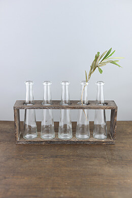 Tabletop Vase Bottle Rack with 5 Glass Bottles  13in