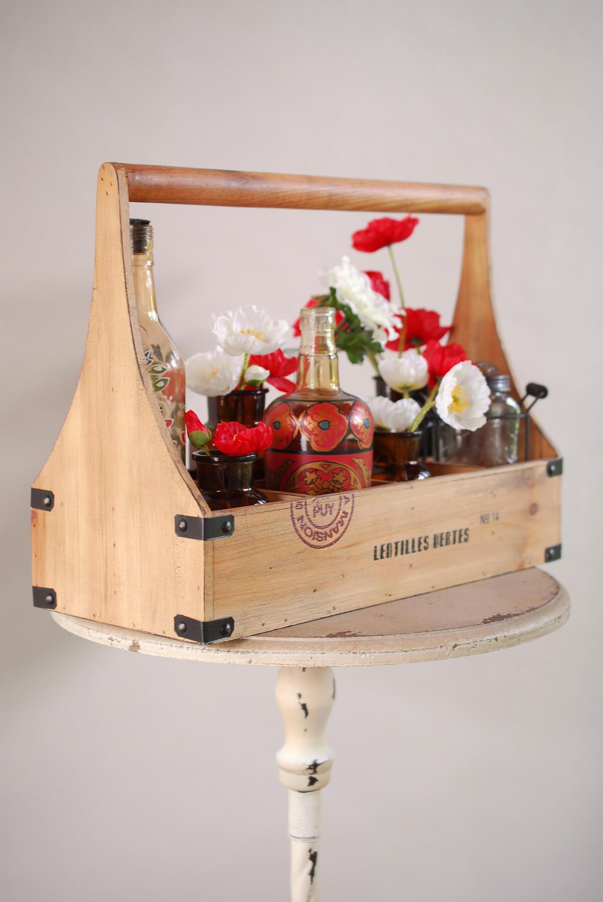 wood caddy wine bottle holder  holds 8 bottles