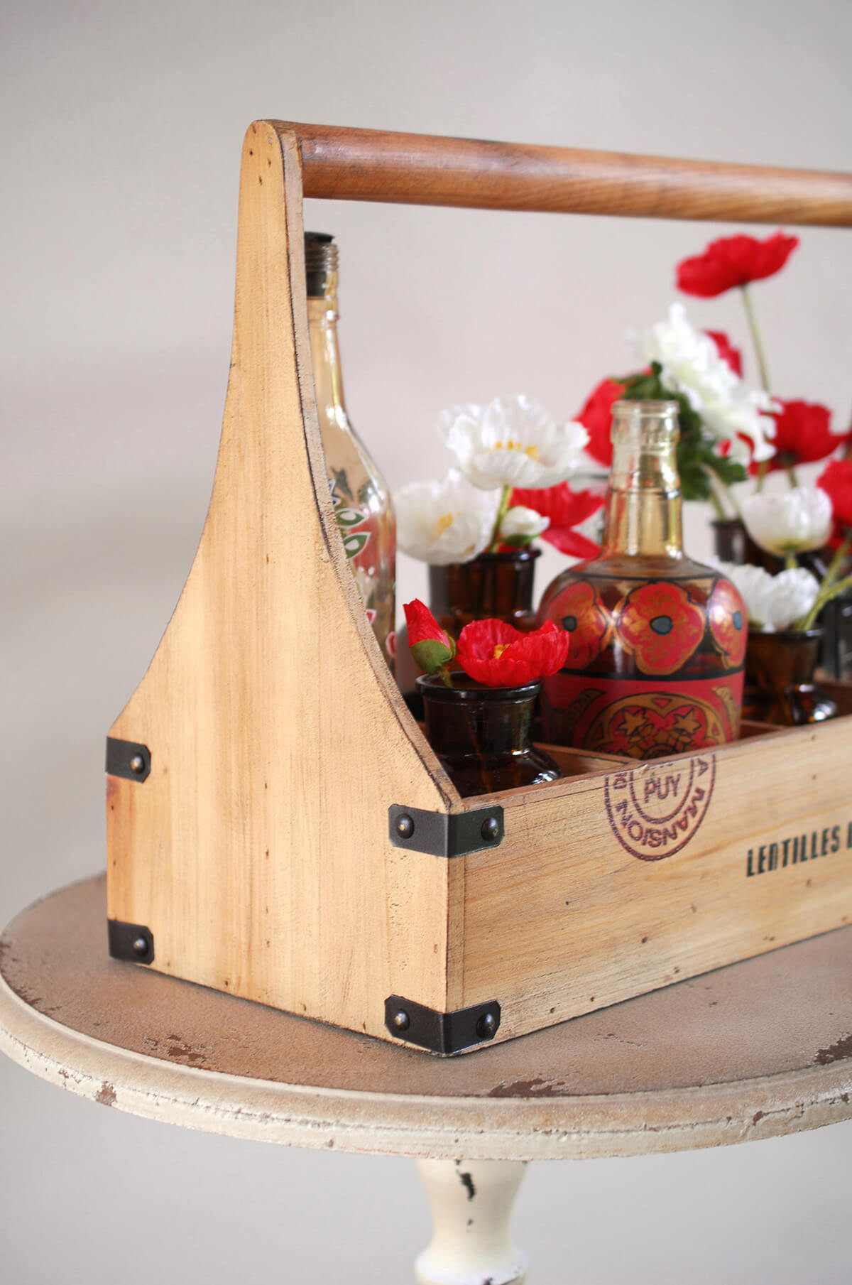 Wood Caddy Wine Bottle Holder Holds 8 Bottles