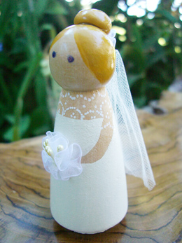 Wedding Cake Toppers Handmade Wood Bride Cake Topper Blonde with Bouquet
