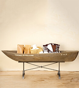 Carved Mango Wood Canoe  29.5   Buffet Display
